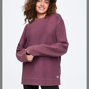 PINK washed campus ribbed crew